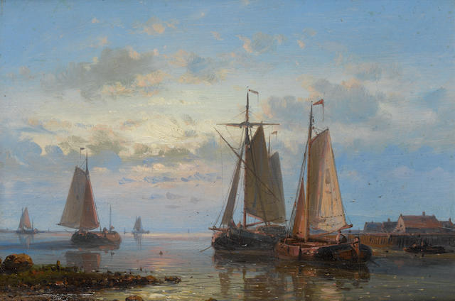 Abraham Hulk, Snr (Dutch, 1813-1897) Evening on the estuary