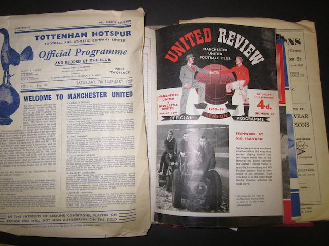 A collection of 1958/59 Manchester United programmes