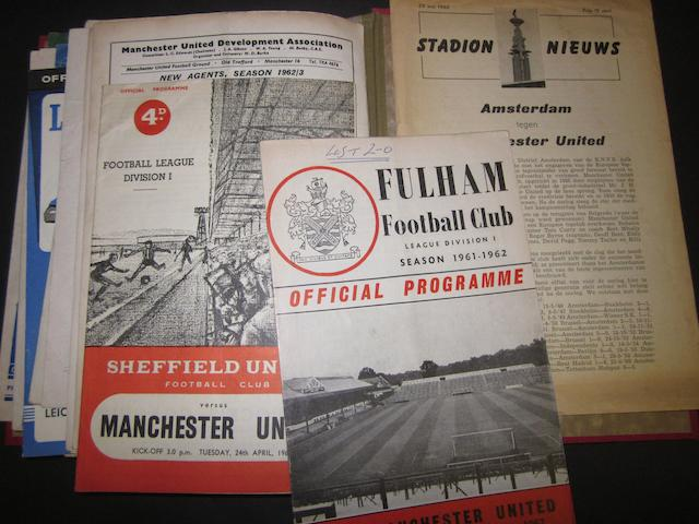 A collection of 1961/62 Manchester United programmes