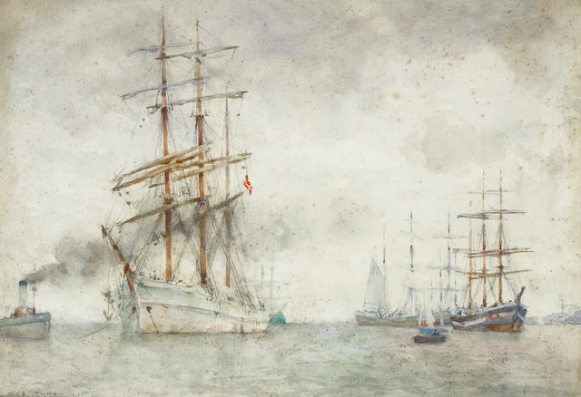 Henry Scott Tuke, RA, RWS (British, 1858-1929) A Norwegian windjammer in Falmouth Roads ???????????????