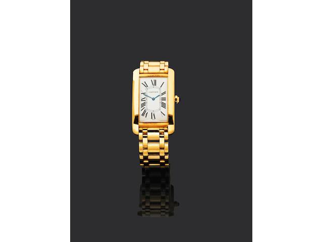 62Cartier. An 18ct gold mechanical bracelet watch