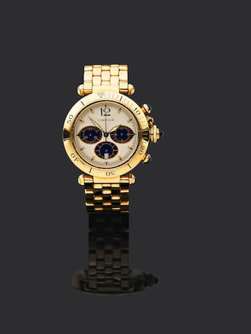Cartier. An 18ct gold quartz calendar chronograph watch