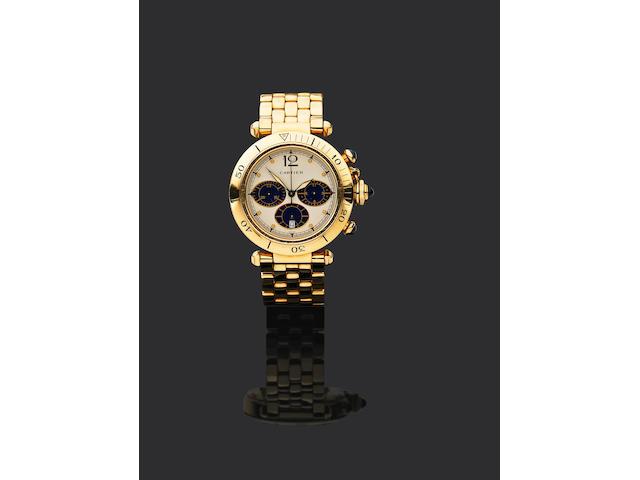 artier. An 18ct gold quartz calendar chronograph watch