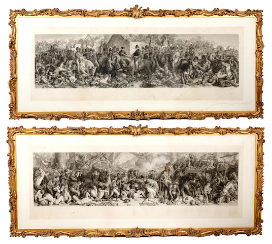 Charles W. Sharpe after Daniel Maclise The Death of Nelson at the Battle of Trafalgar engraving, published 1876 by Art Union of London 44.5 x 123 cm toether with another, Wellington and Blucher, by Lumb Stocks (2) £300-500