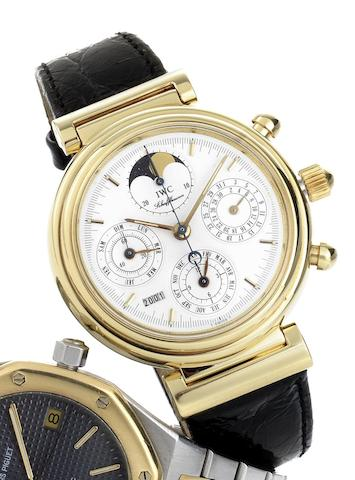 IWC. An 18ct gold automatic chronograph calendar wristwatch with moon phasesDa Vinci, Case No.2382900, Circa 1990