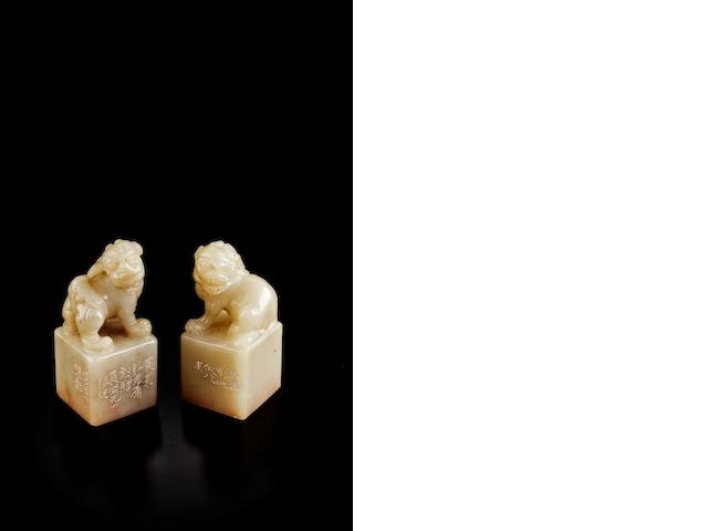 A pair of 'bai furong' 'Buddhist lion' seals Carved by Feng Kanghou (1901-1983)