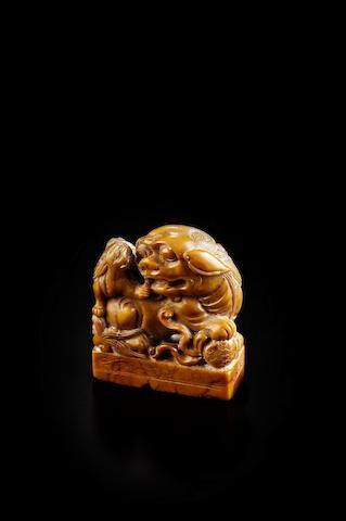 A 'shanhuang' 'Buddhist lions' seal Carved by Yi Daan (1874-1941)