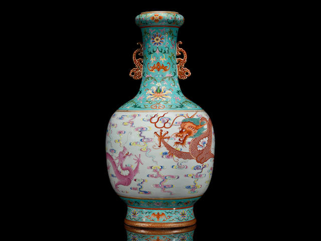 A magnificent and extremely rare famille rose 'dragon' vase Qianlong seal mark