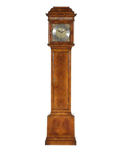 A fine and rare mid 18th century longcase clock movement in a custom made figured walnut case George Graham, London, number 759