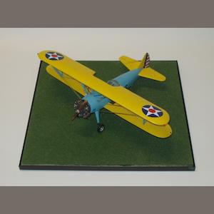 A scratch-built 1:30 scale model of a Stearman PT-17 biplane, by J Darnell,
