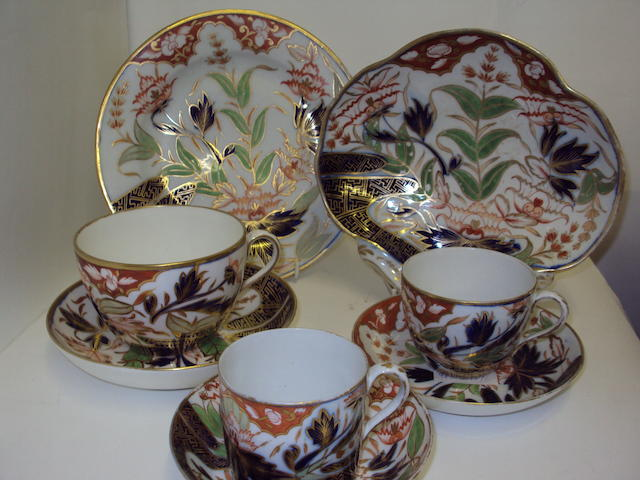 An English porcelain Imari breakfast set, possibly Chamberlains
