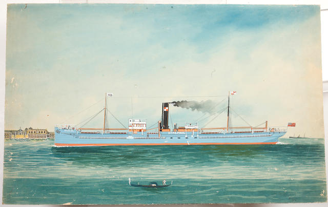 "Italian School, early 20th Century The steam ship ""Stacpool"" off Venice"
