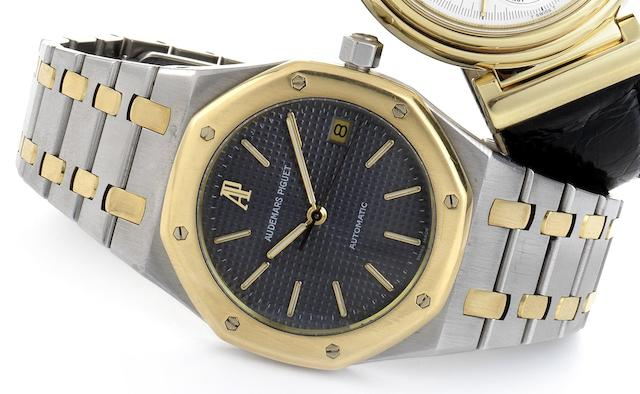 Audemars Piguet. A stainless steel and gold automatic calendar bracelet watchRoyal Oak, No.465, Circa 1990