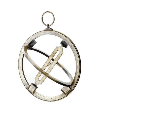 A brass universal equinoctial ring dial,  English,  18th century,