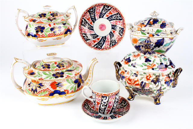 A group of English porcelain tea wares 19th century