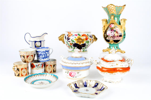 A collection of English Regency teawares and other items.