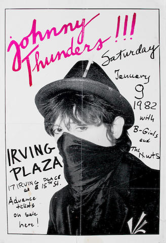 Johnny Thunders: A concert poster for an appearance at Irving Plaza, New York, January 9th 1982,