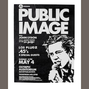 Public Image Ltd (PiL): A concert poster, for an appearance at Olympic Audotorium, Los Angeles, May 4th 1980,