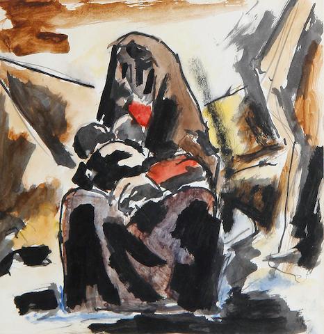 Josef Herman R.A. (British, 1911-2000) Mother cradling child