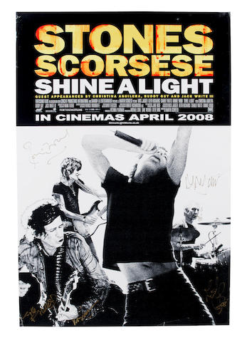 An autographed poster for Martin Scorsese's 'Shine A Light', 2008,