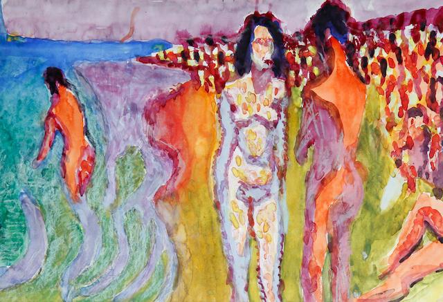 Zdzislaw Ruszkowski (Polish, 1907-1991) Figures on a beach