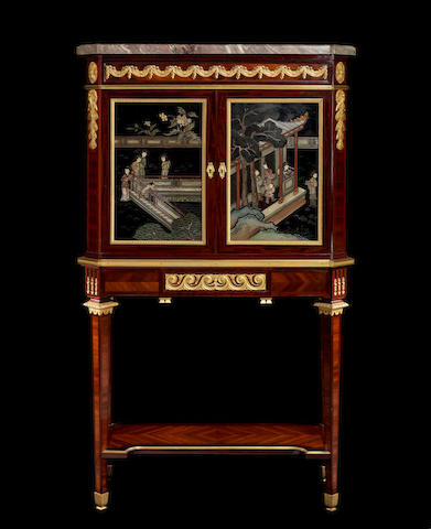 A French late 19th century ormolu-mounted mahogany, satiné and Coromandel lacquer bonheur du jour by Fernand Kohl, Paris