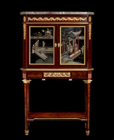 A French late 19th century ormolu-mounted mahogany, satiné and Coromandel lacquer bonheur du jour by Fernand Kohl, Paris
