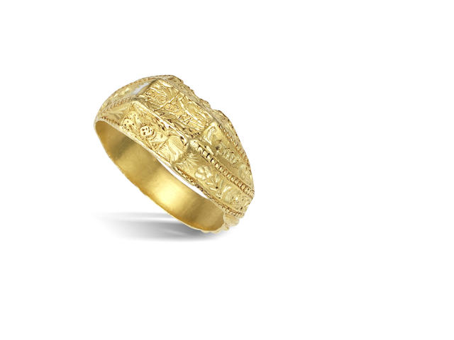 A 15th century gold iconographic ring, English