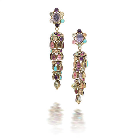 A pair of 19th century multi gem-set earrings