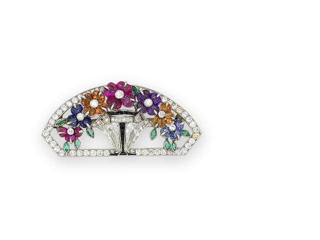 An art deco multi gem-set giardinetto brooch,