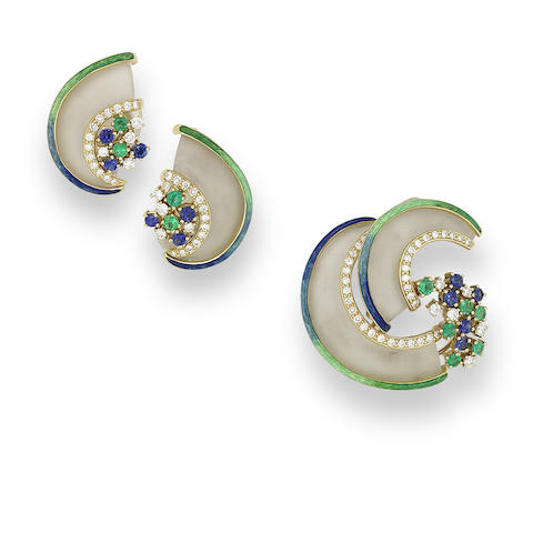 A rock crystal, diamond, sapphire, emerald and enamel brooch and earring suite,  by Ivor Gordon (2)