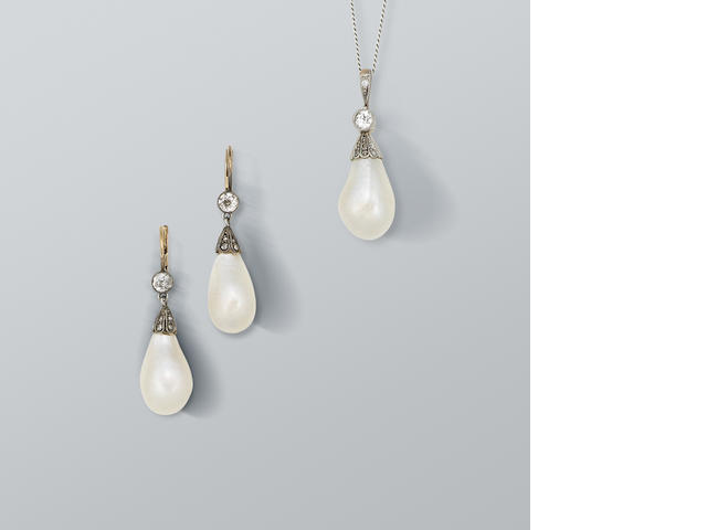 A natural baroque pearl and diamond pendant and earring suite, (2)