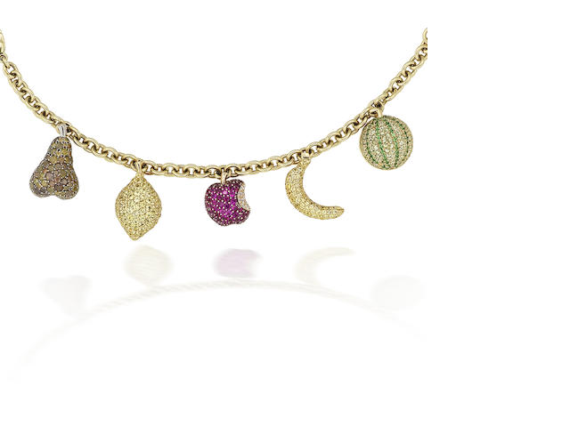 A multi gem-set charm bracelet, by de Grisogono