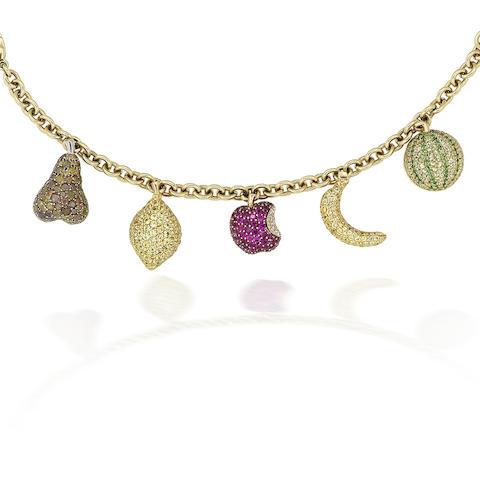 A multi gem-set charm bracelet, by de Grisogono