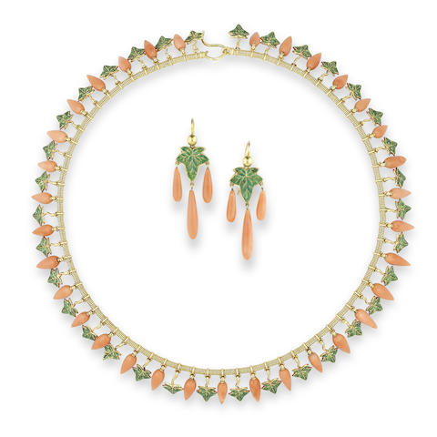 A gold, enamel and coral necklace and earring suite, by Robert Phillips, (2)