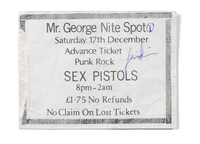 A ticket for the Sex Pistols at 'Mr. George Nite Spot', Coventry, Saturday 17th December 1977,