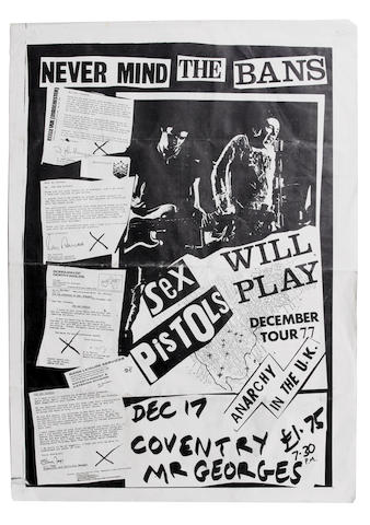A 'Never Mind The Bans' flyer for the Sex Pistols at Mr. George's, Coventry, Saturday 17th December,