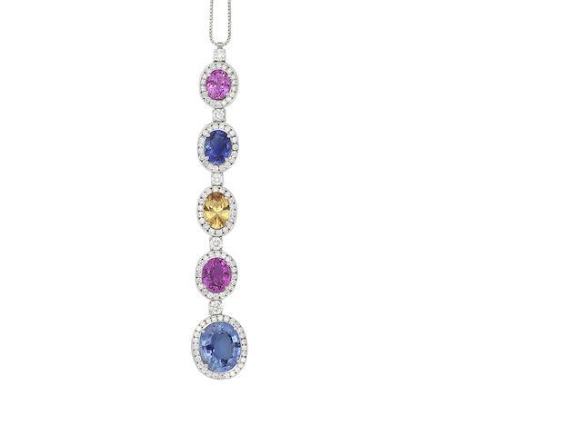 A multi-coloured sapphire and diamond pendant necklace