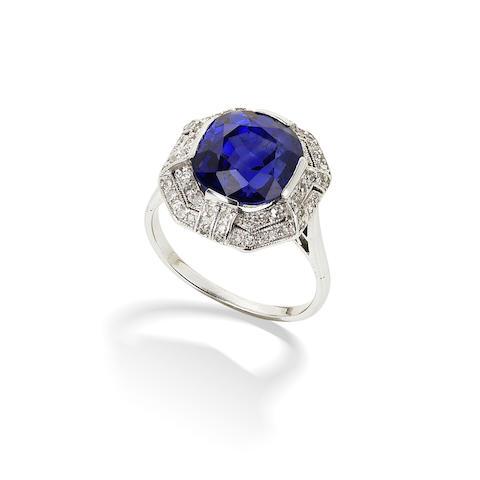 An art deco sapphire and diamond dress ring,