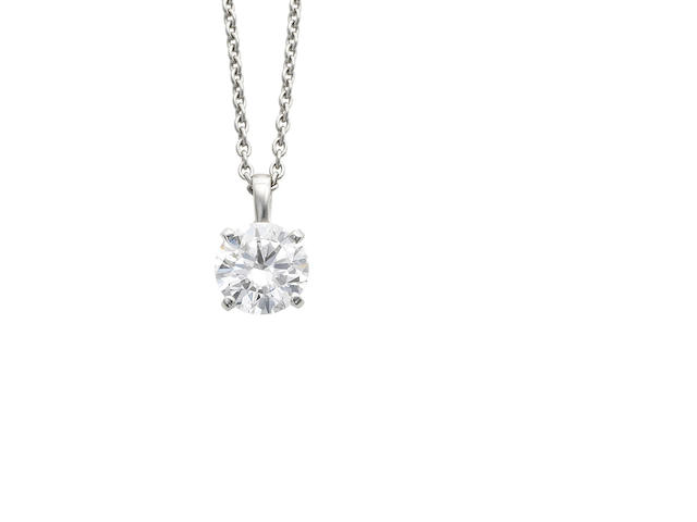 A diamond single-stone pendant necklace, by Cartier