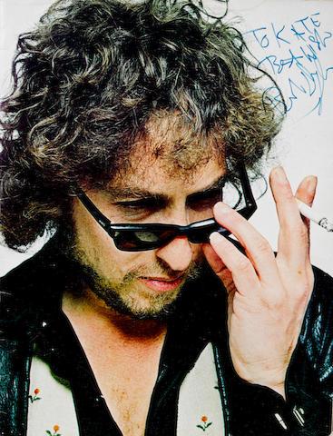 An autographed Bob Dylan tour brochure, circa 1978,