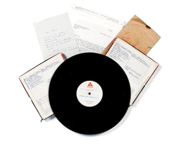 Marianne Faithfull: an album acetate recording and related material, early 1970s,