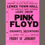 A rare poster for Pink Floyd at Lewes Town Hall, Friday 19th January 1968,