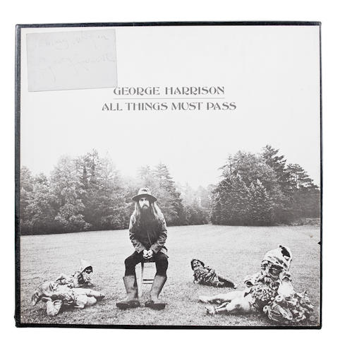 A George Harrison autograph with 'All Things Must Pass' boxed album,