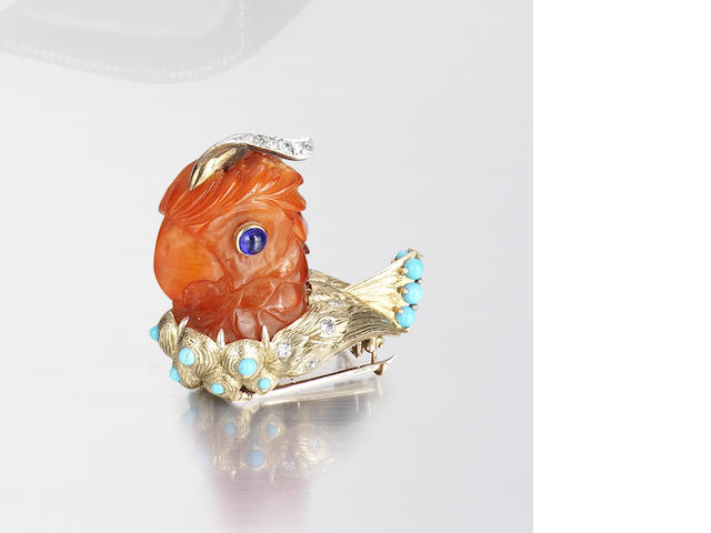 A multi gem-set parrot brooch,