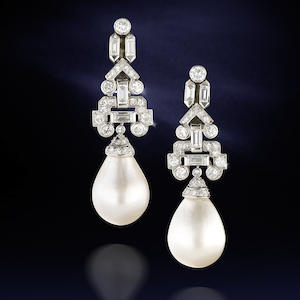 A pair of natural pearl and diamond pendent earrings