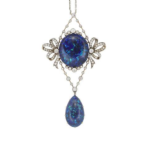 A belle époque black opal and diamond pendant necklace,