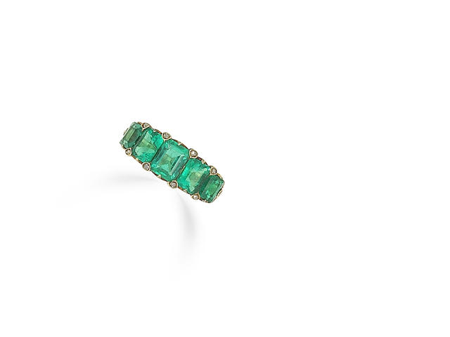 An emerald five-stone ring,