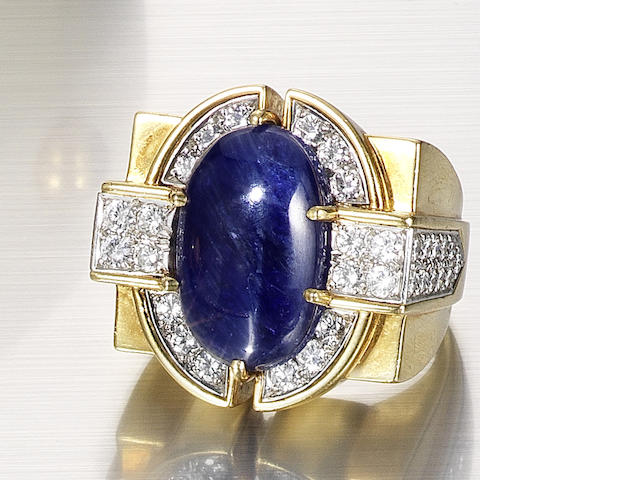 A sapphire and diamond dress ring, by Flato,