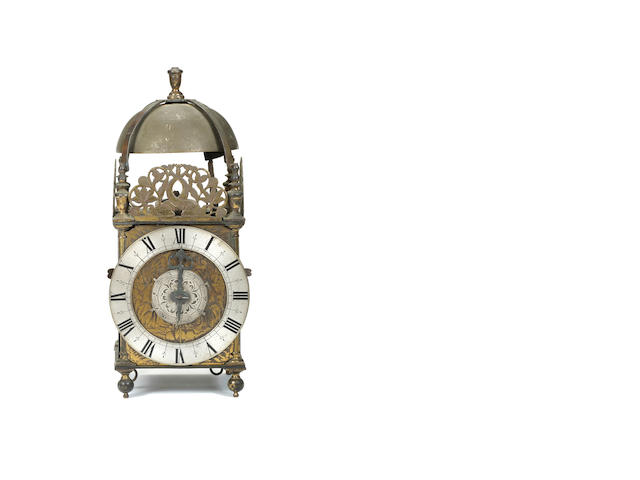 Unsigned, but attributable to Thomas Knifton lantern clock with matchstick man casting mark